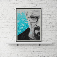 breaking bad poster, walter white, heisenberg, bryan cranston, breaking bad art, breaking bad print, movie poster, walter white poster