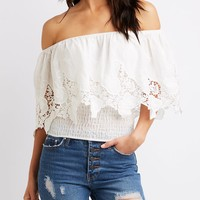 Crochet-Trimmed Off-The-Shoulders Top | Charlotte Russe