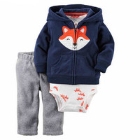 New 2017 infant boy girl clothing sets kids baby bebes sweatshirt clothes 3pcs children clothing baby romper suits hoodies