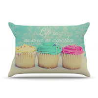 """Beth Engel """"Life Is As Sweet As Cupcakes"""" Green Pillow Case"""