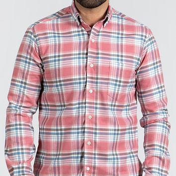 Coral & Blue Plaid Brushed Flannel - 'Billie' One Piece Size L Available
