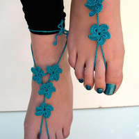Teal Barefoot Sandals, barefoot sandles, Teal Anklet, Foot Jewelry, Beach Wedding, Soleless, Bridesmaid accessory