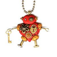 Steampunk Heart Shaped Robot Necklace Polymer Clay Jewelry Valentines Day