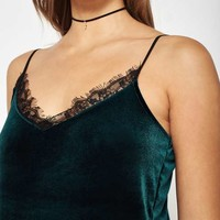 Dark Green Velvet Lace Camisole Top - View All - Apparel