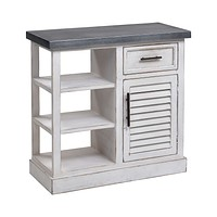 Ballintoy Cabinet in Antique White and Galvanized Steel - Small