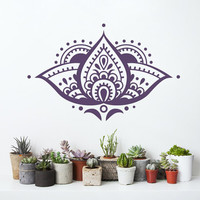 Lotus Flower Wall Decal Yoga Studio Vinyl Sticker Mandala Decals Bedroom Indian Ornament Namaste Home Decor Boho Bohemian Bedding T101