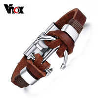 Vnox Brown Genuine Leather Bracelets Charm Mens Jewelry Anchor Male Accessories