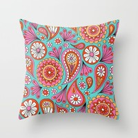 Paisley Floral Throw Pillow by Sarah Oelerich
