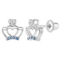 925 Sterling Silver Cubic Zirconia Princess Crown Screw Back Earrings for Girls, Crown-Heart