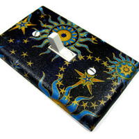Blue Celestial Sun Moon and Stars Light Switch by ModernSwitch