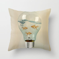 IDEAS AND GOLDFISH 03 Throw Pillow by Vin Zzep