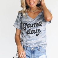 Vintage Camo Game Day V-Neck Shirt