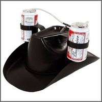 Cowboy Drinking Hat ~ Holds 2 Cans ~ Black
