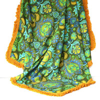 Tablecloth, Vintage 1970s Cotton Retro Mod Print, Blue Green Gold, Upholstery Fabric Dupont Savalux, Vintage Handmade