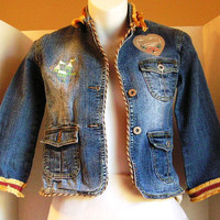 Childs Denim Heart and Flowers Lacy Jacket By Pretty Little Girls