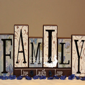 Family Wood Blocks Decor with Live ~ Laugh ~ Love saying
