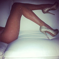 crystallized capezio INDUSTRIAL fishnets by dbleudazzled on Etsy