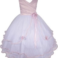 AMJ Dresses Inc Girls Pink Flower Girl Pageant Dress Size 2