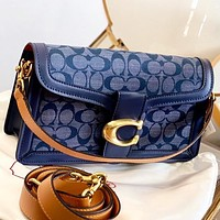COACH New fashion pattern print canvas shoulder bag crossbody bag handbag Blue