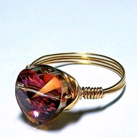 Fiery Amber Swarovski Crystal Heart Ring - GENUINE GOLD Wire