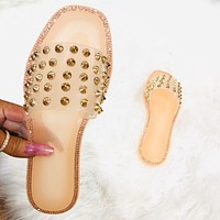 Fashion trend rivet spiked slippers women shoes sandals