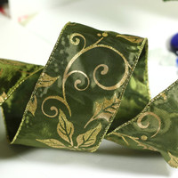 Green Christmas Ribbon: Green Wire Edged Ribbon with Gold Glitter Swirls, Leaves, and Poinsettias with gold edge - 3 yards - 2 1/2 inch wide
