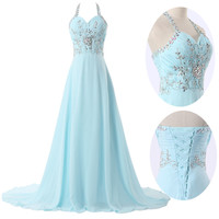 PLUS 2~24W Long Chiffon Prom Dress Bridesmaid Wedding Evening BEADED GRAD DRESS