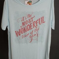 "Gina ""It's The Most Wonderful Time""  Ice Blue Crew Tee"