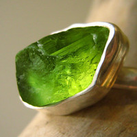Custom Select your Rough Peridot ring - Sterling silver