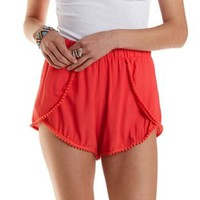 Coral Pom-Pom Trim High-Waisted Shorts by Charlotte Russe