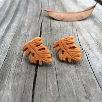Autumn earrings, Fall earrings, autumn jewelry, fall jewelry, leaf earrings, halloween earrings, brown earrings, autumn, thanksgiving