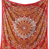 RED ORANGE Fabric Mandala Star Psychedelic Tapestry Throw Hippie Large Wall Hanging Boho Bohemian Bedspread Home Decor