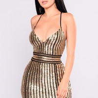Galleria Sequin Dress - Gold