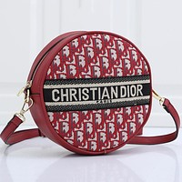 DIOR hot sale round printed letter round cake bag shoulder bag messenger bag
