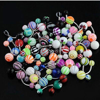 Mixed Color Fashion Navel Belly Button Tongue Bar Rings Piercing