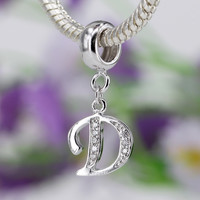 A-M Authentic 925 sterling silver Bead Charm 26 letter With crystal Pendant Beads Fit pandora Bracelet Bangle DIY jewelry SS2657