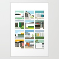 Midcentury Vintage Architecture Inspired by the Palm Springs Desert and Modern California Style Art Print by Aubrey Doodle