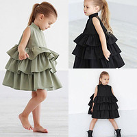 born Kid Baby Girls Party Dress Sleeveless O Neck Cake Ruffled Tutu Bubble Dresses Summer 1-6T Children Girl Clothes