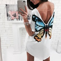 Butterfly T-shirt Dress With Chain