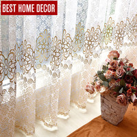 BHD floral tulle sheer window curtains for living room the bedroom modern tulle curtains for window fabric blinds drapes