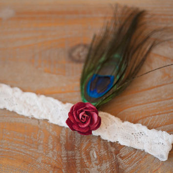 Tiger Lily Rose and Lace, The Great Gatsby Headband, Rose, Feathers,Headband, Womens Accessories, Girls Accessories, Hair Accessories