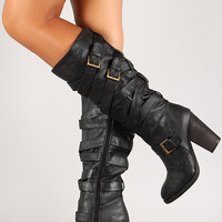 Dollhouse Mentor Strappy Buckle Chunky Heel Knee High Boot