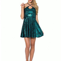 Gold Foil Stamping Dress With Cross Straps In Green