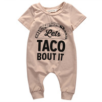 2017 Cotton TACO BOUT IT Romper Summer Newborn Kids Baby Girl Boy Romper Jumpsuit Clothes Outfits New