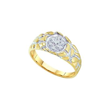 10kt Yellow Gold Mens Round Diamond 2-tone Nugget Band Ring 1/20 Cttw 7895