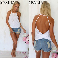 Sexy Womens Loose Casual Backless Vest Sleeveless Summer Shirt Tank Tops Blouse = 5738140673