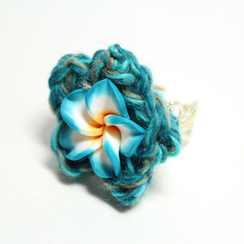 Teal plumeria ring.  Flower crochet ring. Crochet flower jewelry.
