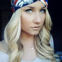 Denver Broncos and chevron twist headband