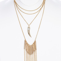 NECKLACE / ELEPHANT TUSK PENDANT / THREE LAYER CHAIN / METAL ROD FRINGE / PAVE CRYSTAL STONE / LINK / ROPE CHAIN / 16 INCH LONG / 7 INCH DROP / NICKEL AND LEAD COMPLIANT