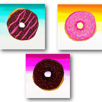 Set of 3 Donut  Prints from Orignal Paintings.  Teen rooms decor art.bakery donuts art for girls..bakery art donuts..teen rooms decor